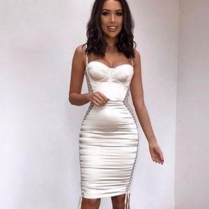 """Angelina"" ivory satin lace up dress"